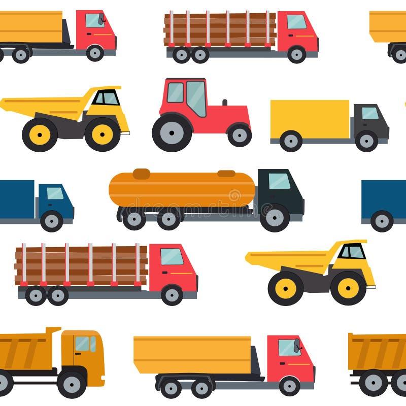 Ejemplo inconsútil del vector del fondo del modelo de los coches del camión stock de ilustración