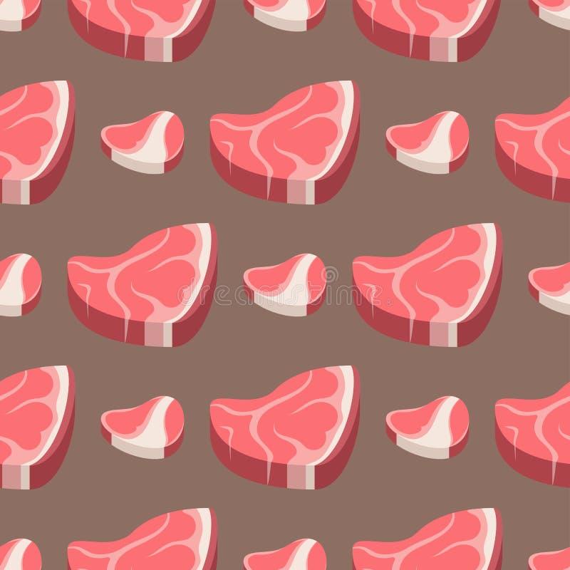 Ejemplo inconsútil del vector del ingrediente del modelo del corte de la comida de la carne cruda del filete de carne de vaca de  libre illustration