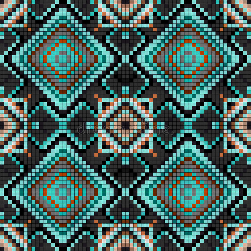 Ejemplo inconsútil del vector del modelo del fondo geométrico del vintage de los pixeles libre illustration