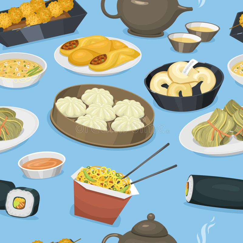 Ejemplo inconsútil del vector del fondo del modelo de la tradición de la comida del plato de la cocina de Asia de la cena de Chin stock de ilustración