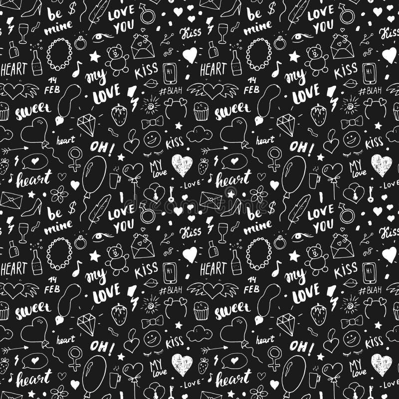 Ejemplo inconsútil del vector del modelo del amor y de Valentine Day Fondo romántico bosquejado exhausto de los símbolos del gara stock de ilustración