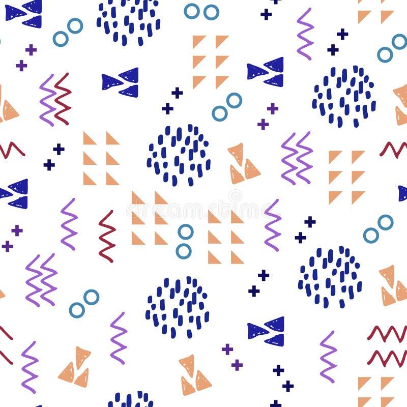Ejemplo inconsútil del vector del modelo de Memphis con el fondo punteado abstracto geométrico del triángulo multicolor stock de ilustración
