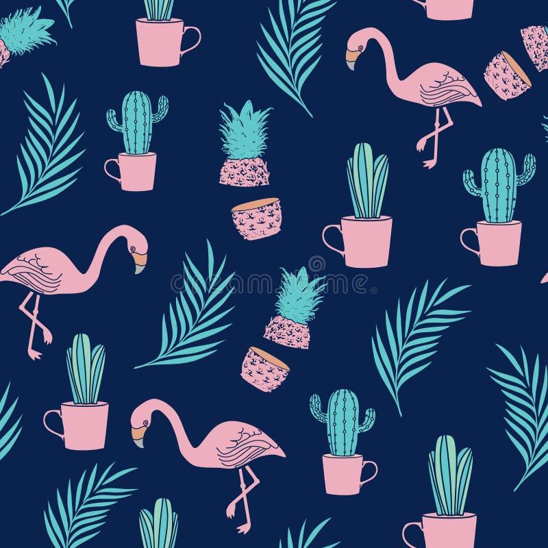 Ejemplo inconsútil del vector del modelo del flamenco de moda con las hojas de palma, el cactus, y la piña libre illustration