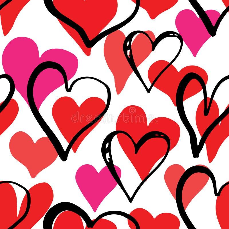 Ejemplo inconsútil del vector del modelo del símbolo del corazón Fondo dibujado mano del garabato del bosquejo Día de Valentains  ilustración del vector