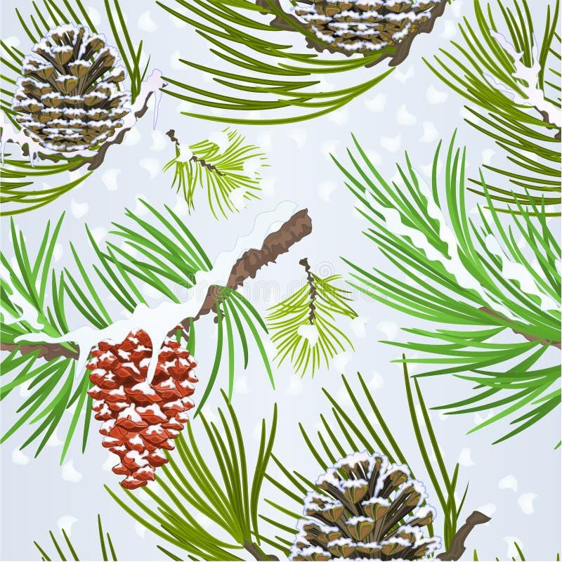 Ejemplo inconsútil del vector del vintage de las ramas de árbol de abeto del cono del pino de la nieve de la decoración de la Nav libre illustration