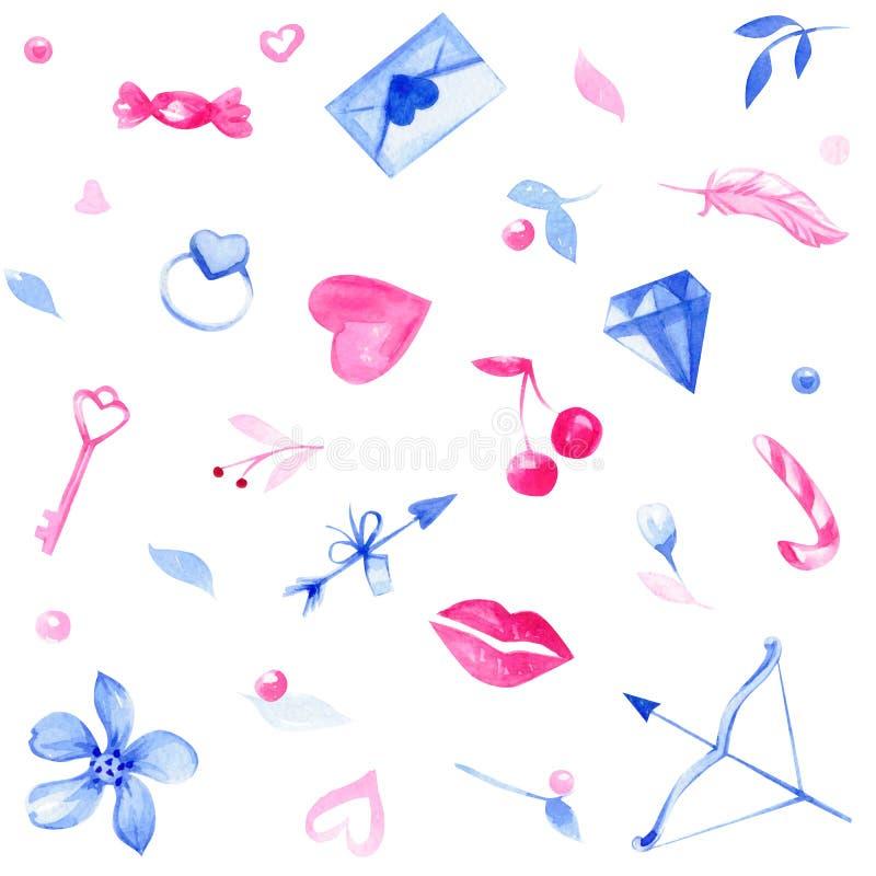 Ejemplo inconsútil dibujado mano con amor, flores, candys, cereza, corazones, letra, flecha, llave, labios, anillo de la acuarela imagen de archivo libre de regalías