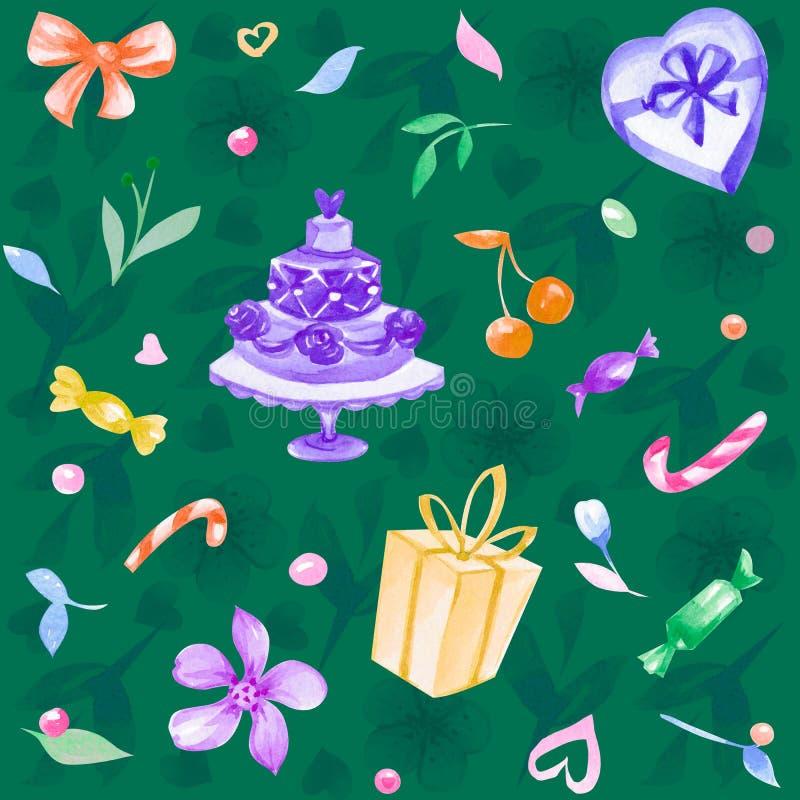 Ejemplo inconsútil dibujado mano con amor, flores, candys, cereza, corazones, regalo de la acuarela imagen de archivo libre de regalías