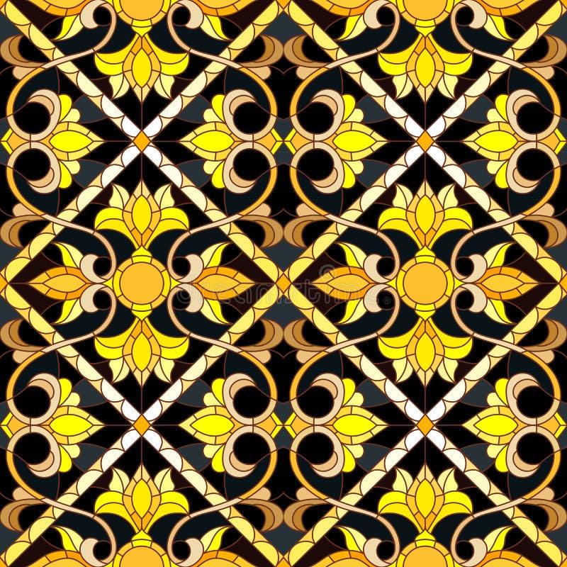 Ejemplo inconsútil en el estilo de un vitral con el ornamento floral de oro del extracto en fondo oscuro ilustración del vector