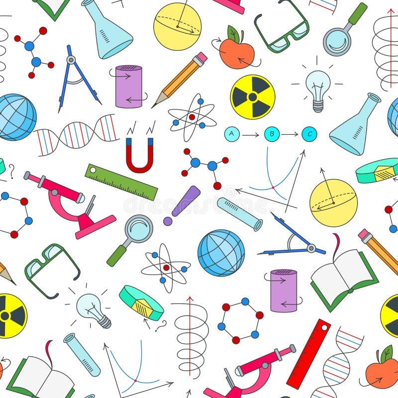 Ejemplo inconsútil en el tema de la ciencia e invenciones, diagramas, cartas, y equipo, iconos simples en el fondo blanco ilustración del vector