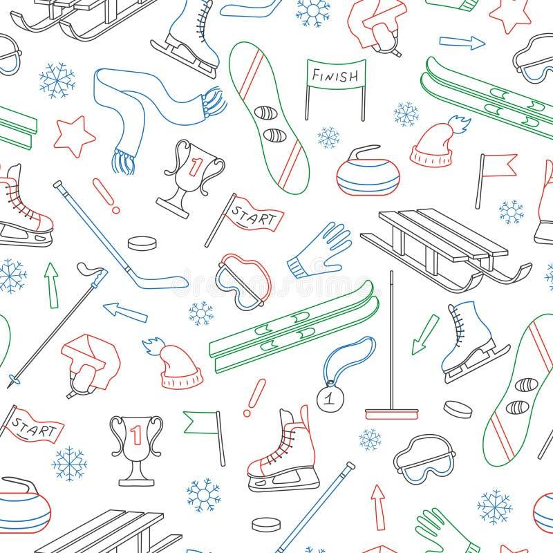 Ejemplo inconsútil en el tema de los deportes de invierno, esquema coloreado simple en un fondo blanco stock de ilustración