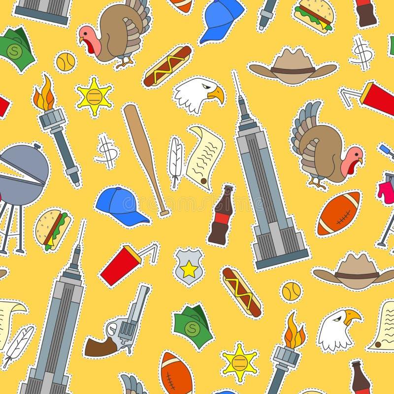 Ejemplo inconsútil en el tema del viaje en el país de América, iconos simples de los remiendos en fondo amarillo stock de ilustración