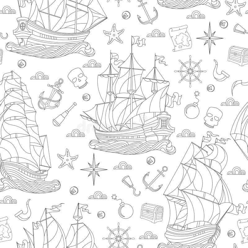 Ejemplo inconsútil en el tema del viaje por mar, de veleros y de los trastos de la nave, contorno oscuro en el fondo blanco stock de ilustración