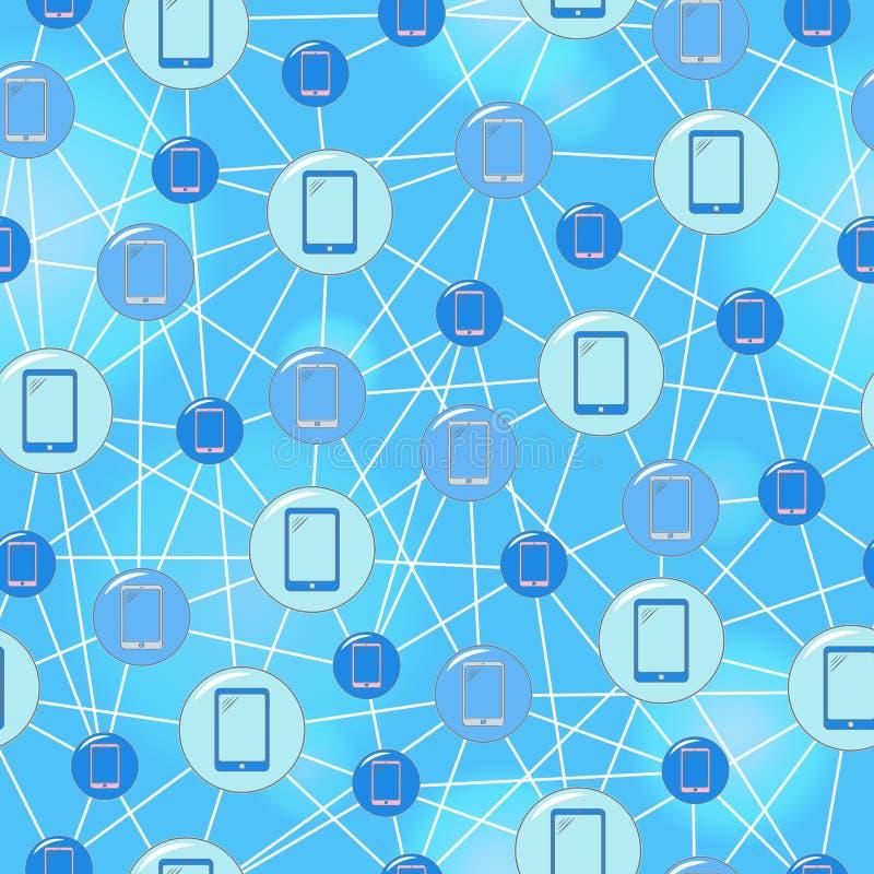 Ejemplo inconsútil en las comunicaciones móviles del tema, los iconos redondos simples y los alambres en un fondo azul stock de ilustración