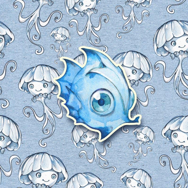 Ejemplo inconsútil exhausto de la acuarela y del lápiz de pescados y de otros animales de mar stock de ilustración