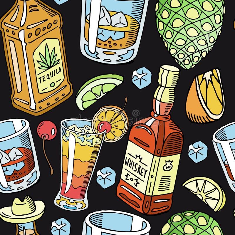 Ejemplo inconsútil líquido del vector del modelo de la bebida del Tequila y del whisky Alcohol con los bocados, botellas Cóctel y stock de ilustración