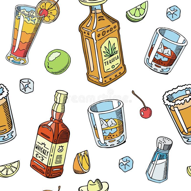 Ejemplo inconsútil líquido del vector del modelo de la bebida del Tequila y del whisky Alcohol con los bocados, botellas Cóctel y ilustración del vector