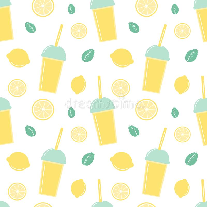 Ejemplo inconsútil lindo del fondo del modelo del vector con limonadas frescas del verano en rebanada de las tazas, de los limone libre illustration