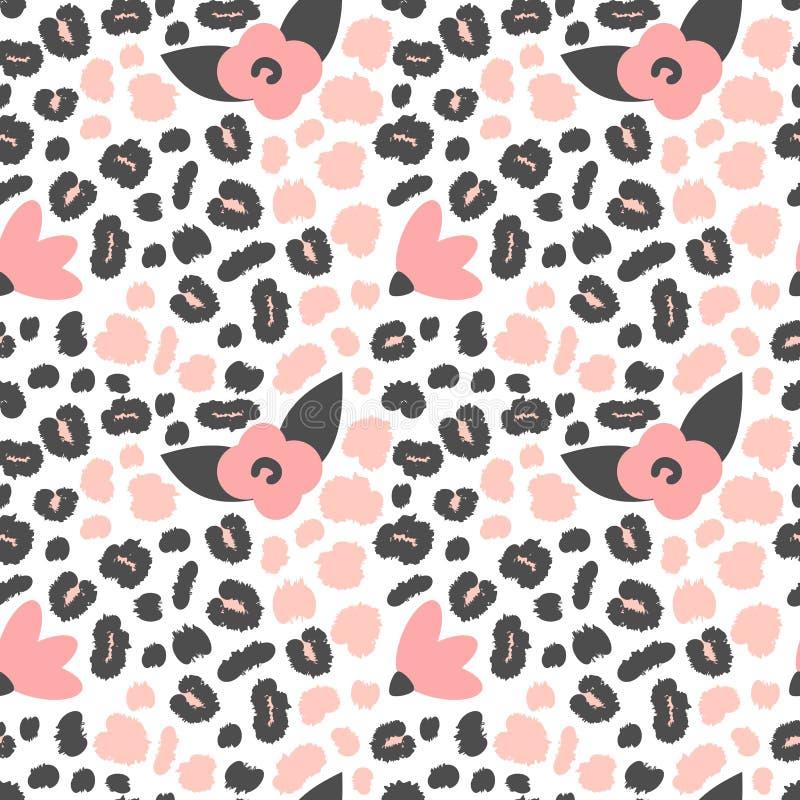 Ejemplo inconsútil lindo del fondo del modelo del vector con rosa y estampado de animales negro con los puntos y las flores del l ilustración del vector