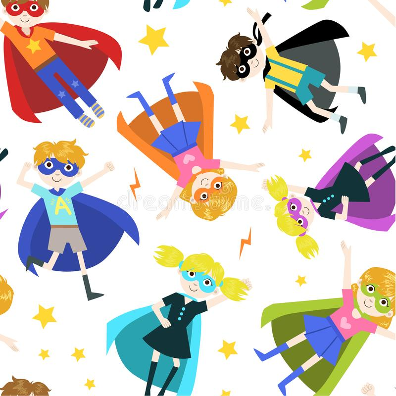 Ejemplo inconsútil lindo del vector del modelo de los muchachos y de las muchachas del super héroe libre illustration