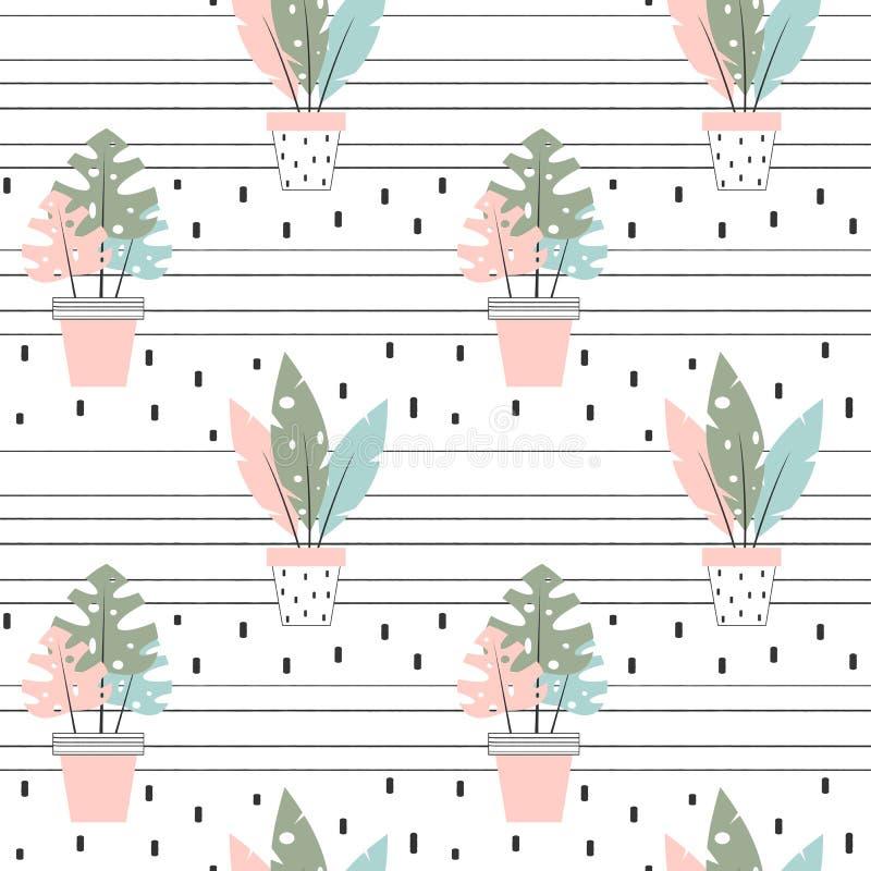 Ejemplo inconsútil precioso lindo del fondo del modelo del vector con las plantas tropicales de la casa ilustración del vector
