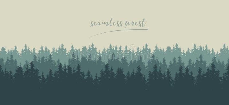 Ejemplo inconsútil realista de siluetas del conifero verde libre illustration