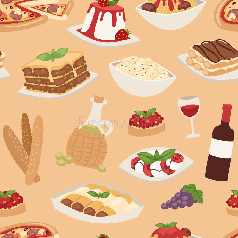 Ejemplo inconsútil tradicional del vector del modelo de la cocina de la comida de Italia de la historieta ilustración del vector