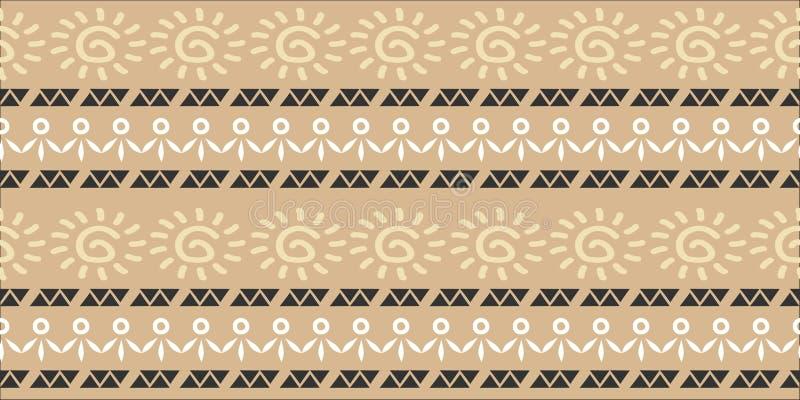 Ejemplo inconsútil tribal étnico de moda del vector del modelo con el fondo exhausto del batik del adorno del ikat de las rayas d ilustración del vector
