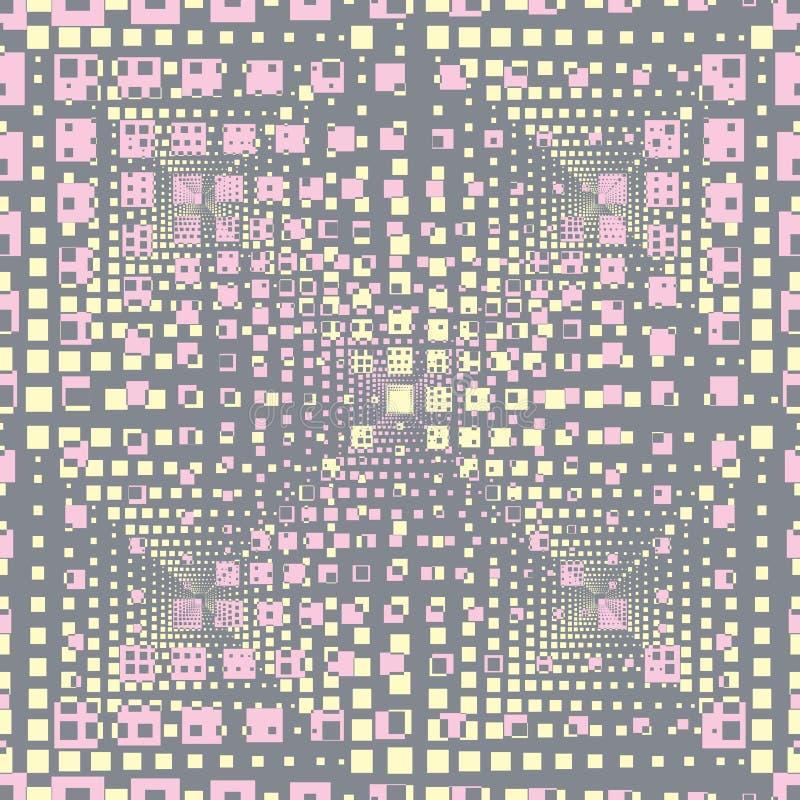 Ejemplo incons?til abstracto del modelo de las tejas rectangulares de la ilusi?n ?ptica ilustración del vector
