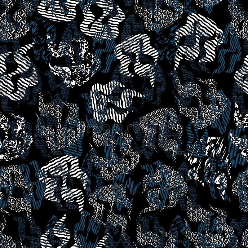 Ejemplo incons?til del modelo de llamas abstractas con las impresiones mezcladas y los estilos de la ilusi?n ?ptica stock de ilustración