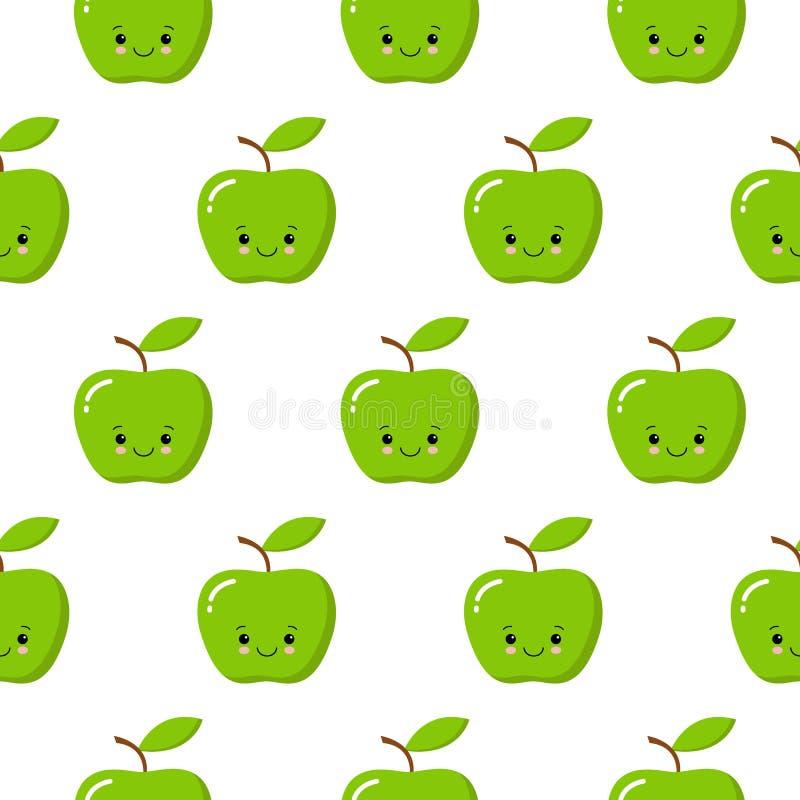 Ejemplo incons?til del modelo del vector con las manzanas lindas del kawaii en el fondo blanco Estilo de la historieta libre illustration
