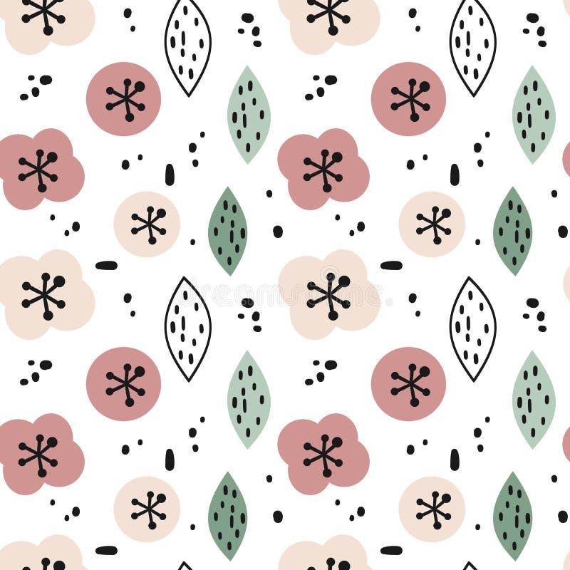 Ejemplo incons?til moderno lindo del fondo del modelo del vector con las flores exhaustas de la mano abstracta, las hojas y las f libre illustration