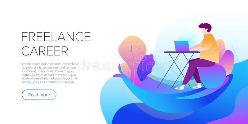 Ejemplo independiente del vector del extracto de la carrera en diseño plano Freelancer que trabaja afuera en el ordenador portáti libre illustration