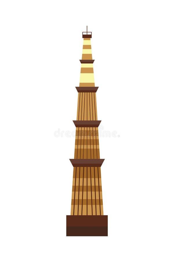 Ejemplo indio del vector de la torre del templo ilustración del vector