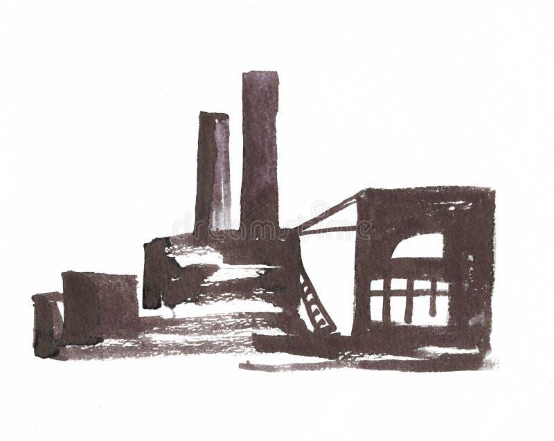 Ejemplo industrial con una f?brica, una f?brica con los altos tubos ilustración del vector