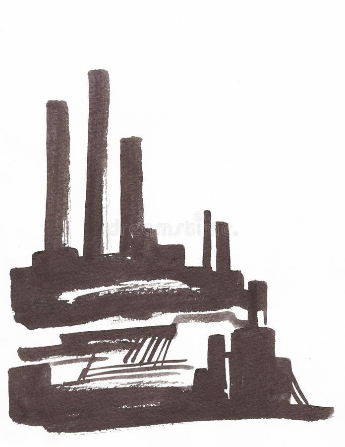 Ejemplo industrial con una f?brica, una f?brica con los altos tubos stock de ilustración