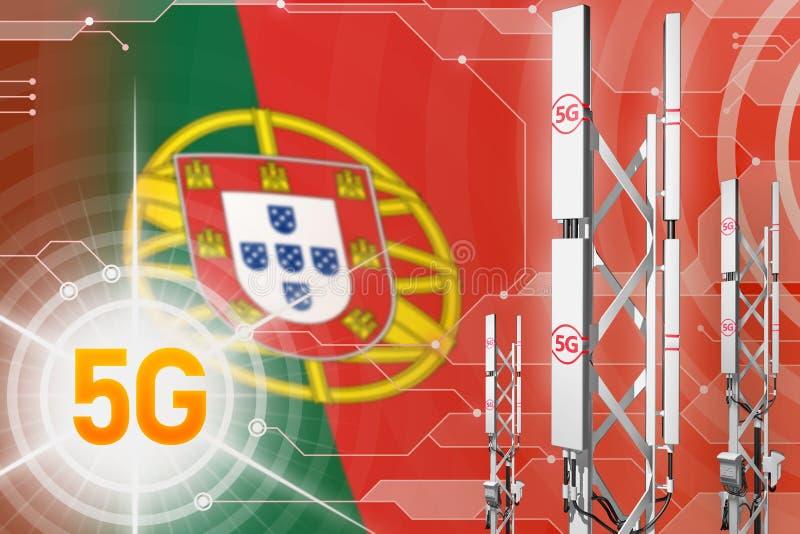 Ejemplo industrial de Portugal 5G, palo celular grande de la red o torre en el fondo moderno con la bandera - ejemplo 3D ilustración del vector