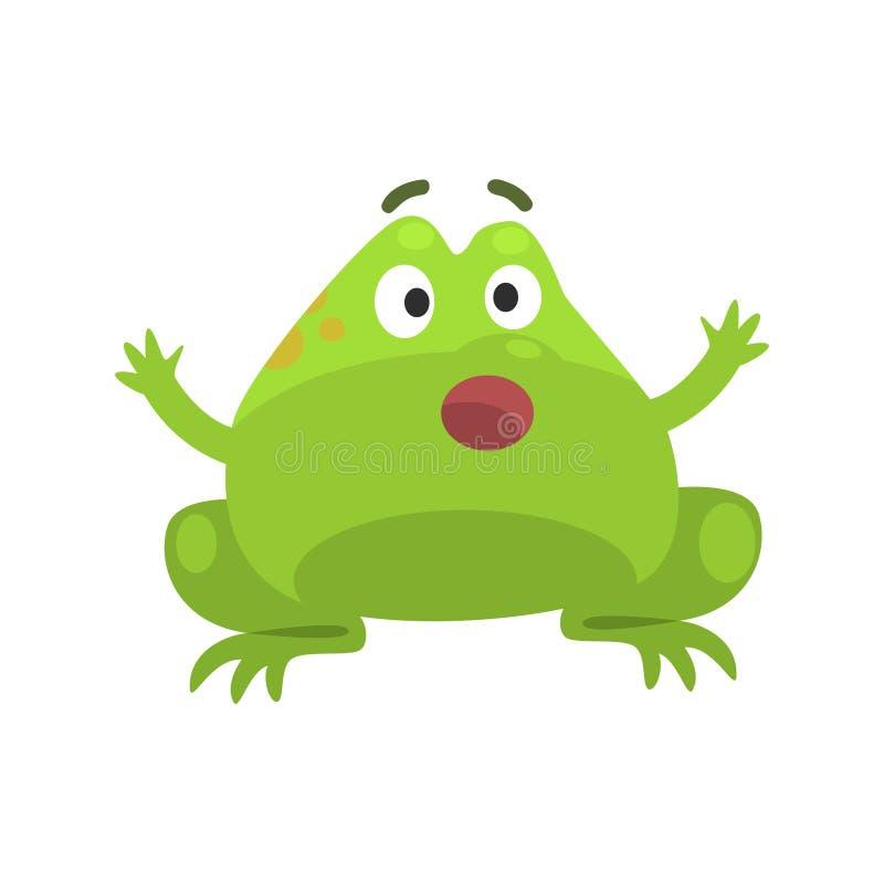 Ejemplo infantil chocado de la historieta del carácter divertido de la rana verde stock de ilustración