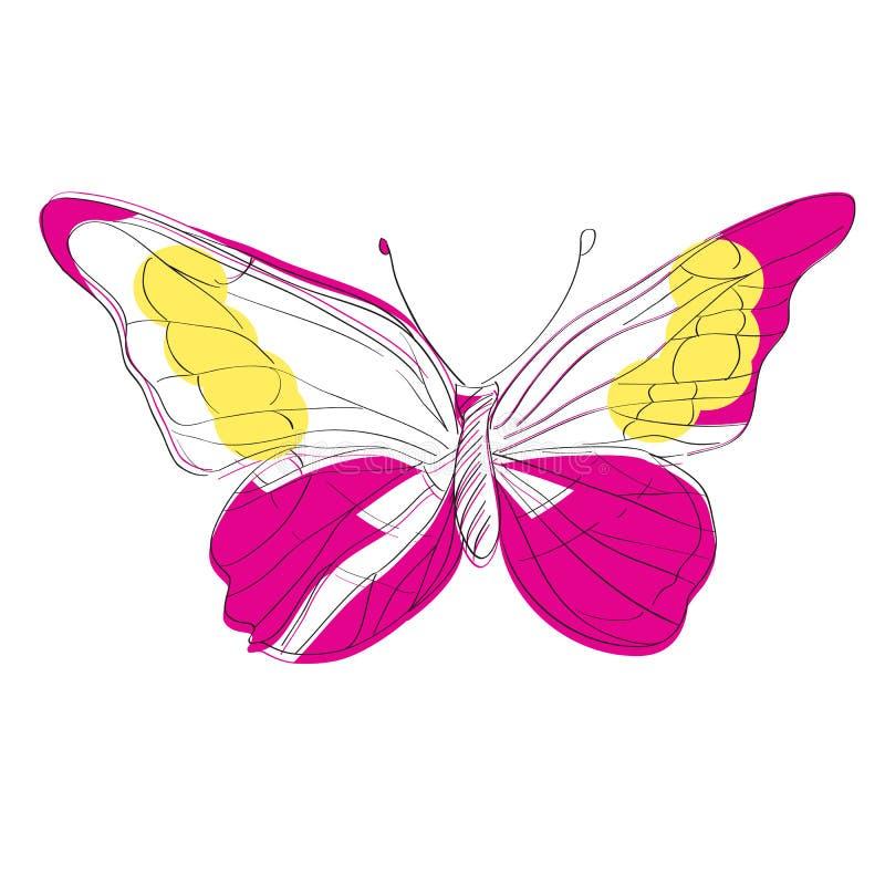 Ejemplo infantil de la mariposa de Morpho Helena ilustración del vector