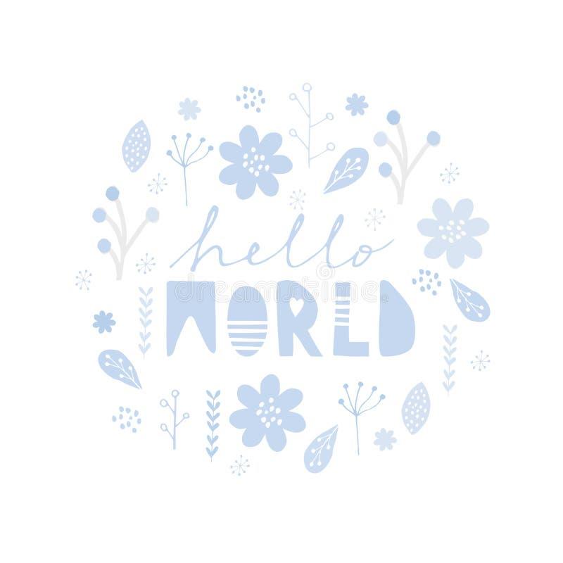 Ejemplo infantil lindo del estilo para el bebé Tarjeta delicada simple del vector de la fiesta de bienvenida al bebé libre illustration