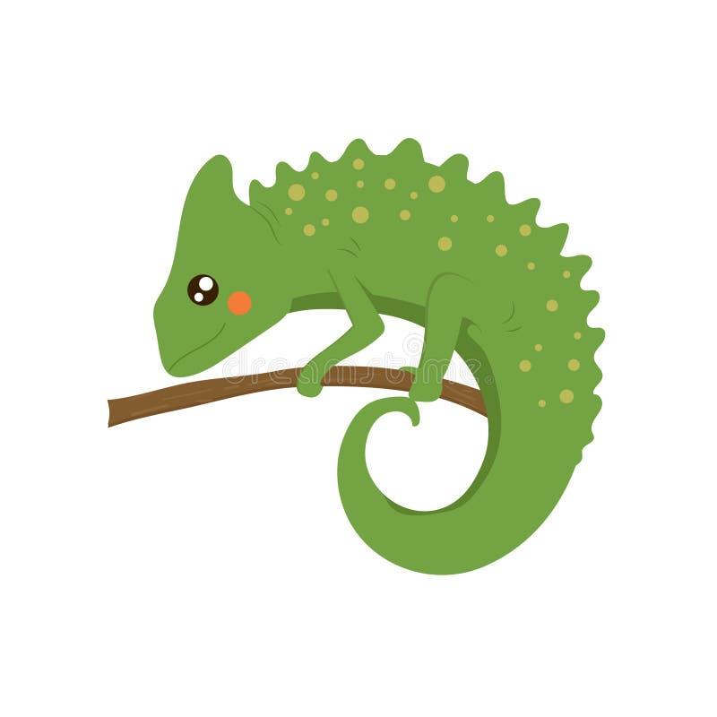 Ejemplo infantil realista del camaleón stock de ilustración