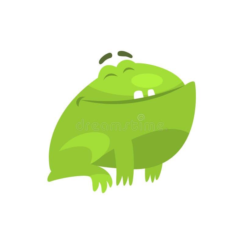 Ejemplo infantil sonriente satisfecho de la historieta del carácter divertido de la rana verde libre illustration