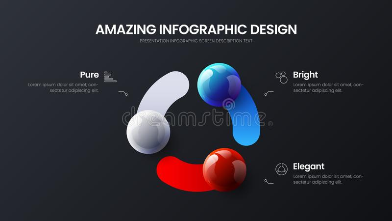 Ejemplo infographic de las bolas del vector de la presentaci?n de la opci?n del negocio 3 Disposici?n de dise?o corporativa del a libre illustration