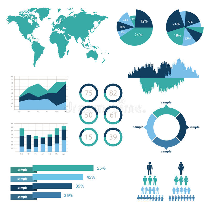 Ejemplo infographic del vector del detalle. Gráficos del mapa del mundo y de la información libre illustration