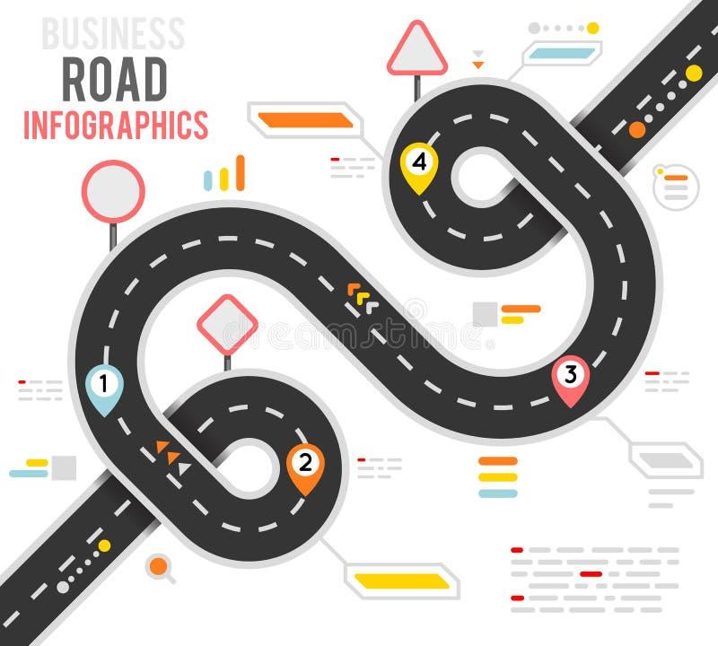 Ejemplo infographic del vector del diseño del mapa itinerario del mapa de la manera de camino de la curva del lazo de la navegaci ilustración del vector