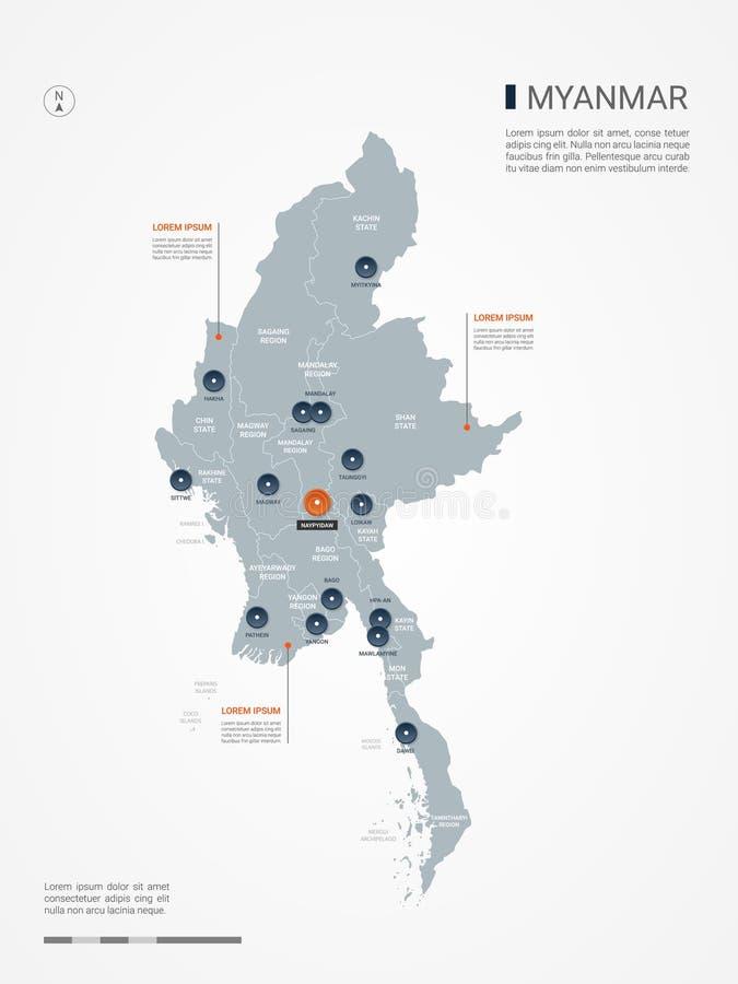 Ejemplo infographic del vector del mapa de Myanmar Birmania libre illustration