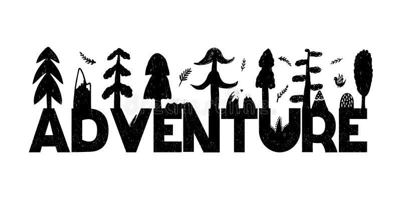 Ejemplo inspirado del vector de la aventura en estilo blanco y negro Vector ilustración del vector