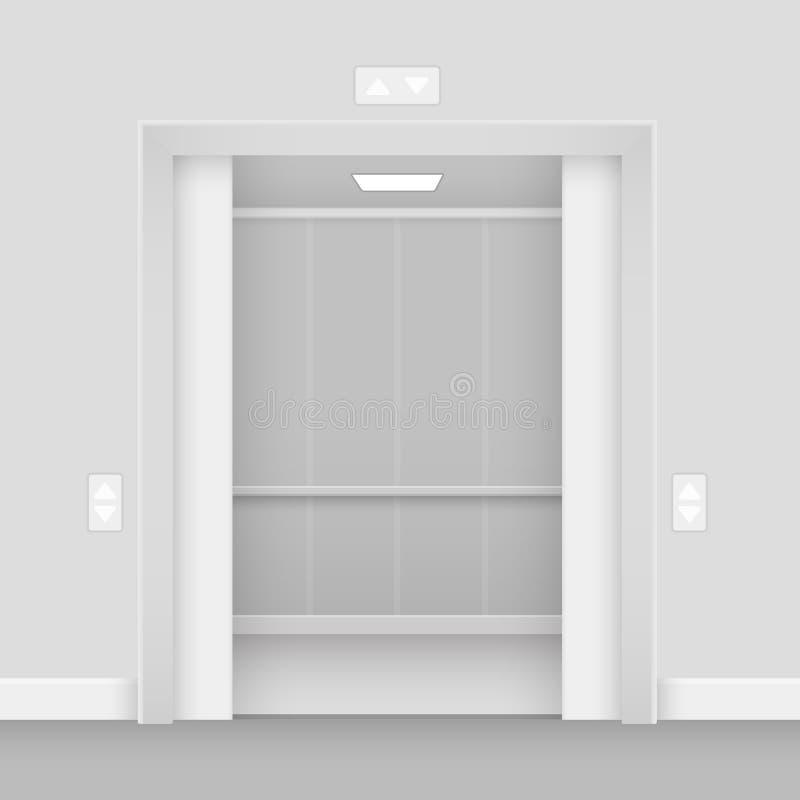 Ejemplo interior abierto realista del vector del pasillo vacío del elevador stock de ilustración