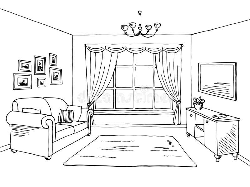 Ejemplo interior blanco negro gráfico del bosquejo de la sala de estar libre illustration