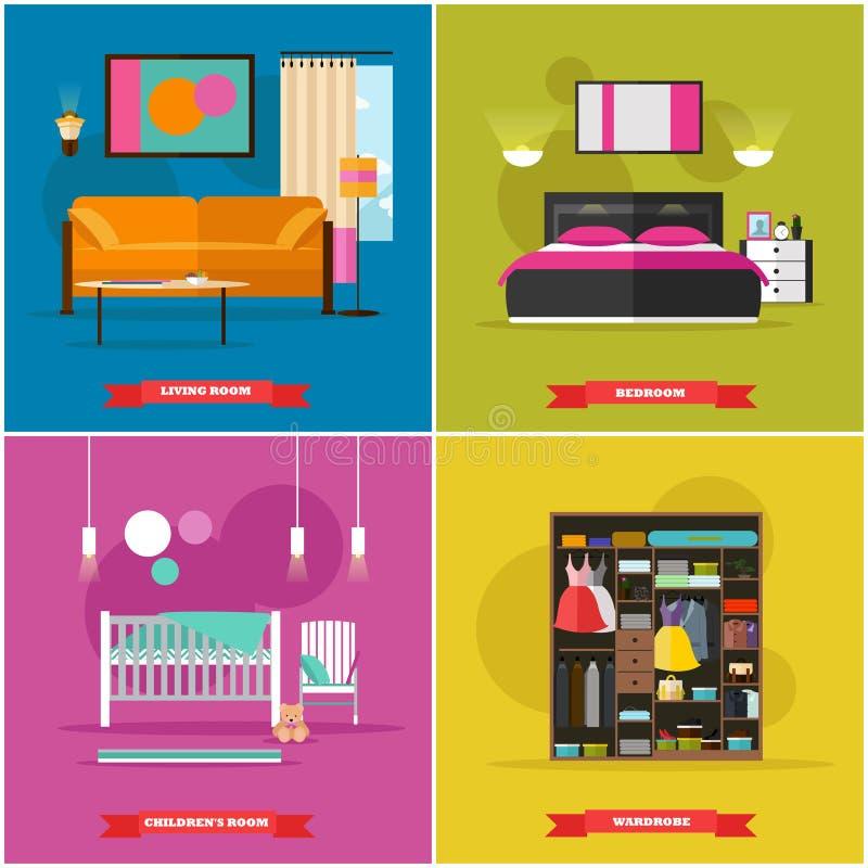 Ejemplo interior casero del vector en estilo plano Contenga el diseño con los muebles, cama, sofá, guardarropa libre illustration