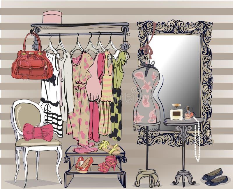 Ejemplo interior con el guardarropa de las mujeres stock de ilustración